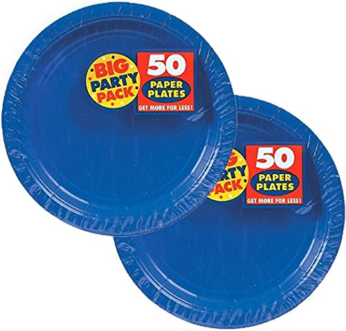 Big Party Pack Paper Luncheon Plates 7-Inch, 100/Pkg, Bright Royal Blue