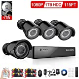 ELECCTV New Upgraded 1080P Security System 4CH H.264+DVR Recorder with 1TB Surveillance Hard Disk Drive and (4) 1920TVL Weatherproof Cameras with Smart Search/Playback