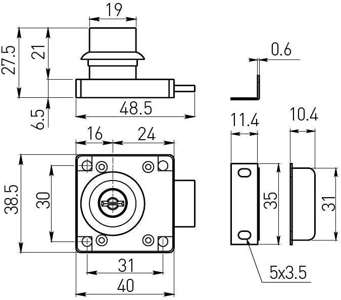 GTV 1 M/öbelschloss mit Klappschl/üssel verchromt