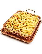 De originele ovenpan voor knapperig frituren zonder vet en zonder te moeten bakken! Verander je oven in een luchtfriteuse. Set van 2 stuks met koperen coating en super sterk keramiek! Pan- en grillset met innovatieve antiaanbaklaag koper Geïcroniseerd keramisch systeem - kom, chef-kok, grillplaat voor olievrij frituren - mand voor niet-gefrituurde frituurde kleur koper koper koper koper koper koper koper koper koper koper koper ronde heldere bakken rode glanzende pan pannen Z7400
