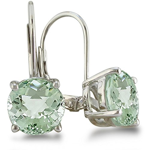 Sterling Silver Green Amethyst Quartz Leverback Earrings 3 1/2 Carat Total Weight