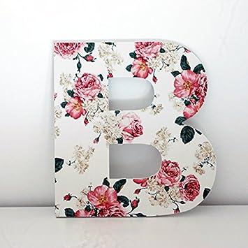 letras decorativas b con frontal de flores rosas altura 30 cms - Letras Decorativas