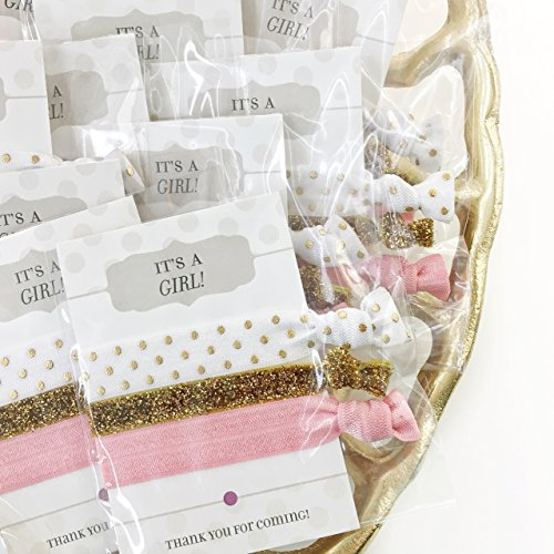 Amazon Com It S A Girl Baby Shower Favors Hair Ties 5 Pack