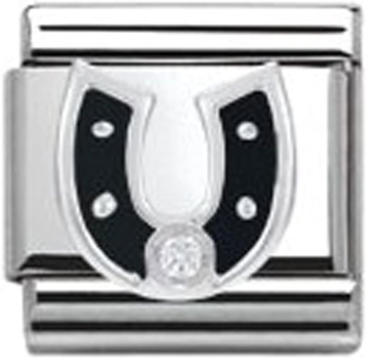 330305//11 Nomination Composable Damen-Bead Classic Symbole Edelstahl Hufeisen Schwarz