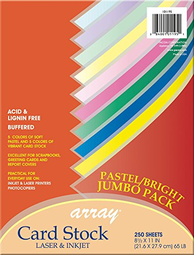 Pacon Card Stock, Pastel and Bright Jumbo Assortment, 10 Colors,  8-1/2