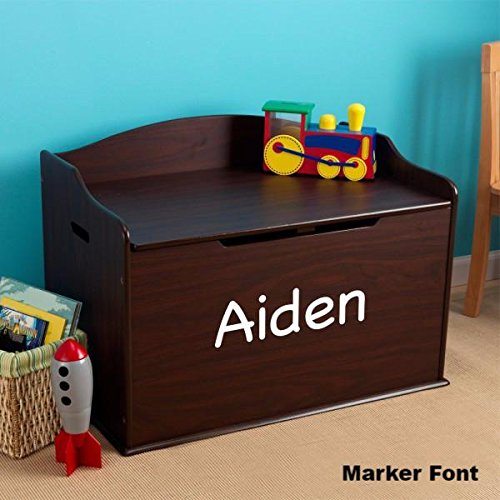 Modern Touch Personalized Boys Toy Box - Espresso with Custom Font Choices
