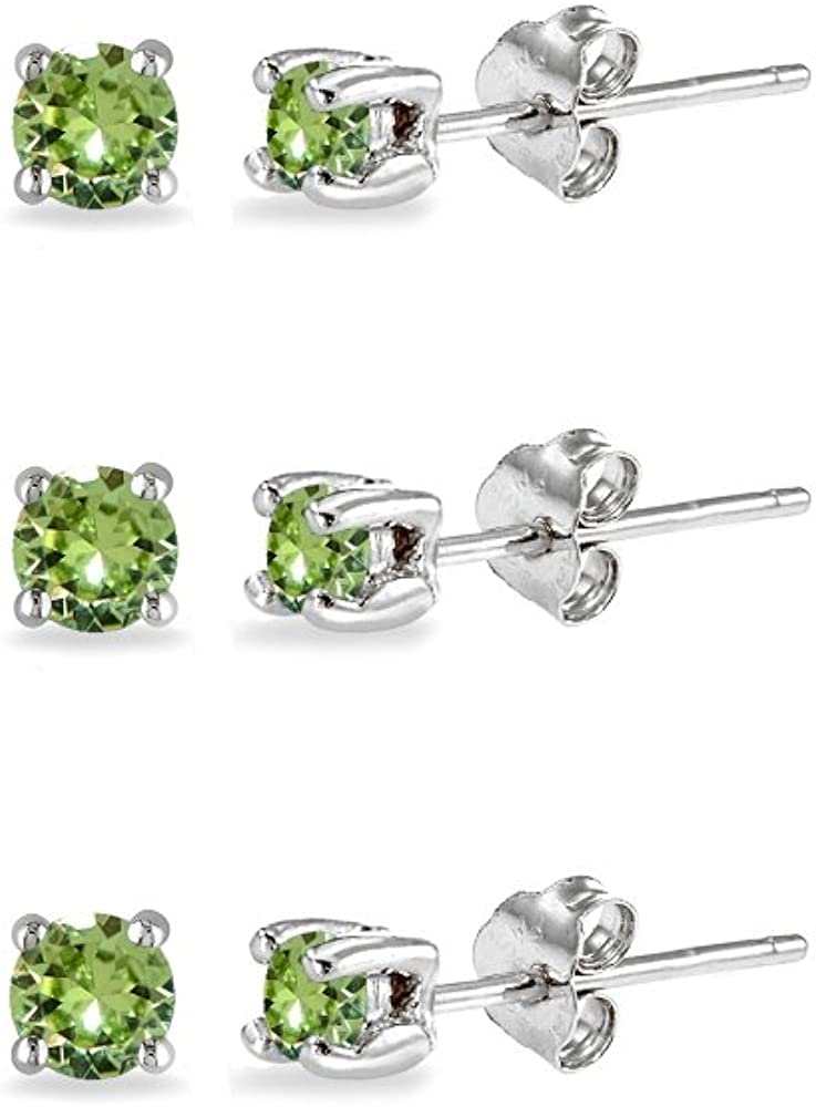 3-Pair Set Sterling Silver 4mm Round Colored Stud Earrings Made with Swarovski Crystals