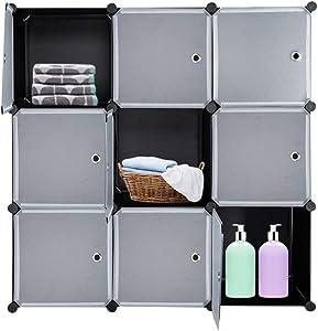 VINGLI Cube Storage, 9 Cubes Organizer Shelves Plastic Closet Cabinet, DIY Modular Storage Cube Organizer w/White Doors for Bedroom Living Room Office, Black
