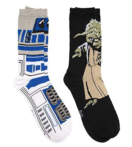 Star Wars R2d2   Yoda 2 Pairs Pack Mens Socks   Shoe Size 6 12   White
