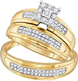 Sonia Jewels 10k Yellow Gold Trio His & Hers Round Diamond Matching Bridal Wedding Ring Band Set (3/8 Cttw)