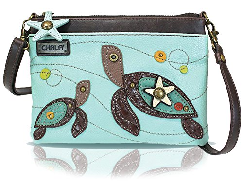 Tan Leather Womens Mini (Chala Mini Crossbody Handbag, Multi Zipper, Pu Leather, Small Shoulder Purse Adjustable Strap - Turtle - Light Blue)