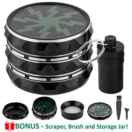 Herb Grinder 4 Piece 2.3 In - Premium Aluminum Alloy Spice Grinders Set with Mini Scraper and Brush and Storage Container - Fine Manual Shredder Mill for Tea - Compact Metal Dry Herbs Crusher