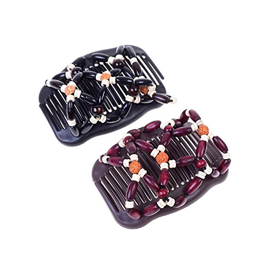 Kloud City Women Magic Combs Wood Beaded Stretch Double Side Combs Clips Bun Maker Hair Accessories (Burgundy # Black)