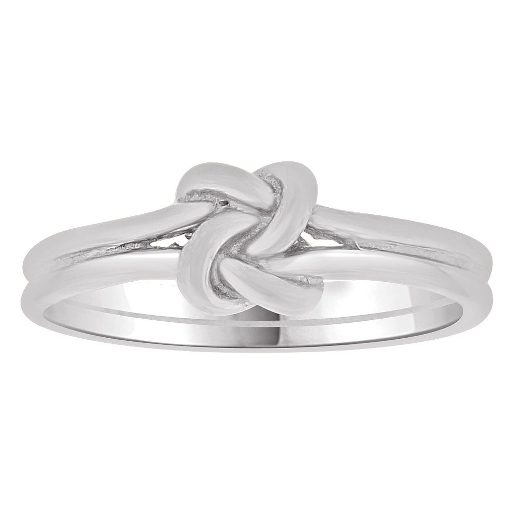 14k White Gold, Small Size Baby Child Kid Ring Band Love Knot Design by GiveMeGold (Image #1)