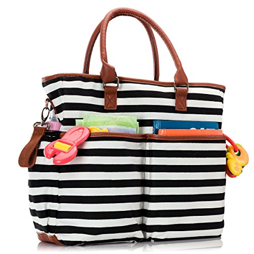 Premium Baby Diaper Tote Bag + Matching Changing Pad and Stroller Strap – 14 Spacious Pockets – Durable Canvas Material – Black and White Stripes with Tan Leather Trim – Lightweight - 14'' x 5'' x 15'' by Luliey (Image #4)
