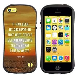 All-Round híbrido de goma duro caso cubierta protectora Accesorio Generación-I BY RAYDREAMMM - Apple iPhone 5C - Sunset Quote Inspiring Message Text