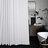 Black and White Striped Shower Curtain Aimjerry Water-Repellent Striped Fabric Shower Curtain Mold Resistant Black and White,71-inch x 71-inch