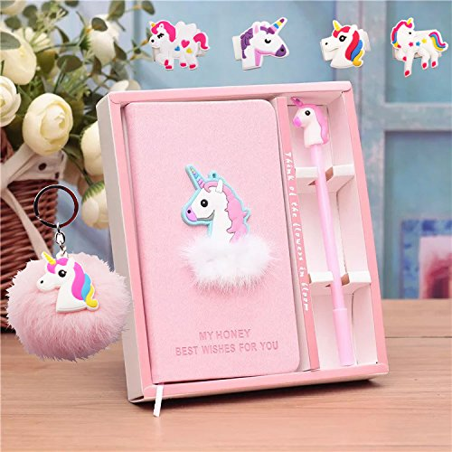 Unicorn Gift for Girls Journal Gel Pens Stationery Set Pendant Unicorn Key Ring-Lovely Birthday Pink Gifts for Girls of All Ages: 3 4 5 6 7 8 9 by foci cozi
