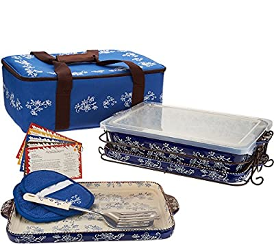 """Temp-tations 13""""x9"""" 4 Quart Baker, Insulated Tote, 2 Stoneware Trays(Lid-It), Plastic Cover, Utensil, 2 Mitts"""