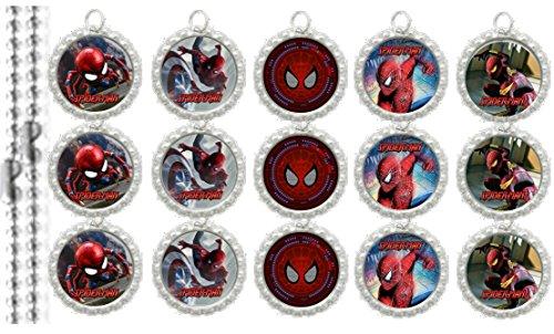 15 Spiderman Special SILVER Bottle Cap Pendant Necklaces Set 1 - Bottle Cap Pendants Set