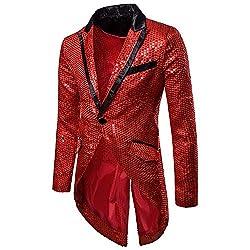 Men's One Button Slim Fit Sequin Tailcoat