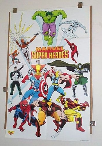 Rare Vintage 1980's Marvel Universe Promo Poster:Spider-man/Captain America/Thor/Iron Man/Hulk/Punisher/Silver Surfer/Daredevil/X-Men/Wolverine/Hobgoblin/Dr Doom