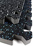 IncStores 3/4' Soft Rubber Interlocking Gym Flooring Tiles - Perfect Mats for Home Gyms, Insanity, P90X, Cardio and More