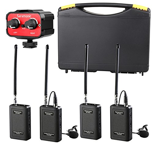 Mic Vhf Lavalier (Saramonic Wireless VHF Lavalier Microphone Bundle with 2 Bodypack Transmitters, 2 Receivers, and 2-Ch Mixer for DSLR Cameras, Camcorders + More - 200' Wireless Transmission Range (Black/Red))