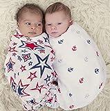 Baby BowBow Bamboo Muslin Swaddle Blankets - 2 pack - Unisex Nautical ...