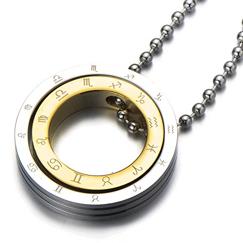 Unisex Zodiac Pendant Necklace Two tone
