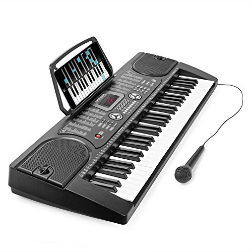 Hamzer 61 Key Electronic Piano Electric Organ Music Keyboard with Microphone - Black