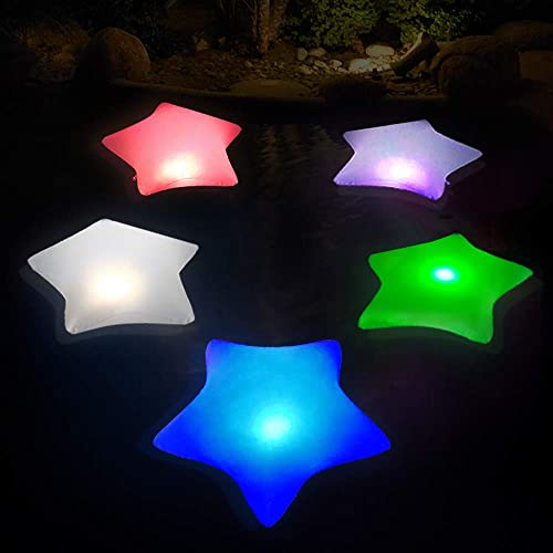 Cootway Floating Pool Solar Lights 2PCS, Inflatable Star Colorful Night Light, 17 Bright LED Waterproof Auto Color Changing Light for Pond, Garden, Backyard and Party