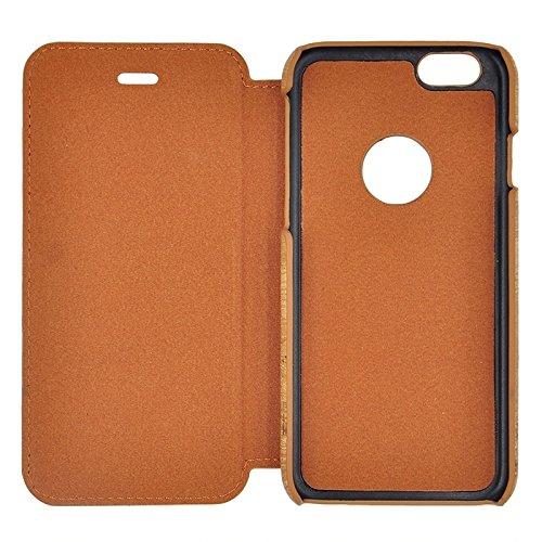 SCSY-phone case Caja de cuero de costura de grano de madera de estilo retro con soporte para iPhone 6 y 6s ( Color : Blue ) Yellow