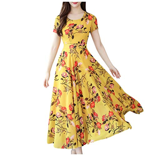 LuminitA Womens Floral Print Dress Retro Round Neck Long Sleeve Gowns Lady Casual Pleated Swing Dress Yellow