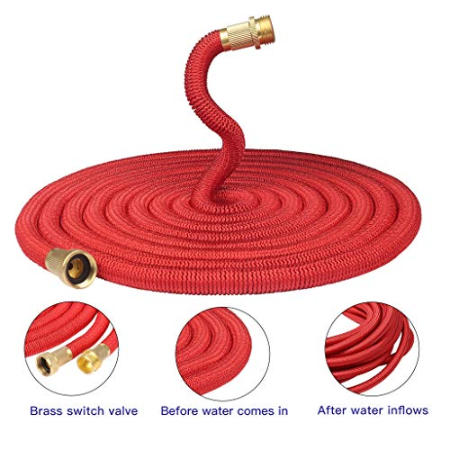 Greenbest Garden Hose No Kinks Farm Hose Water Hose 50 Feet for Watering Lawn, Yard, Garden, Car Washing, Pet and Home Cleaning (Red)