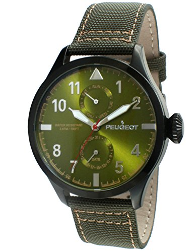 Expedition Military Field Watch (Peugeot Men's 2044BGR Black Plated Green Nylon Day Date Calendar Aviator Analog Display Quartz Green Watch)
