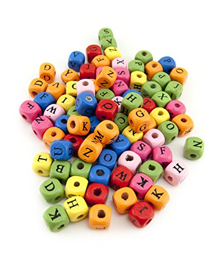 Hygloss Products ABC Wood Beads - Bright Colored Wooden Alphabet Craft Letter Beads - 10mm, 225 ()