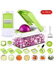Vegetable Chopper, 13-Piece Veggie Mandoline Slicer Dicer Multi Blade Veg Onion Chopper Kitchen Spiralizer Cutter, Quick & Handy Shredder Machine for Potato, Cheese, Salad, Fruit, Carrot, Tomato,etc