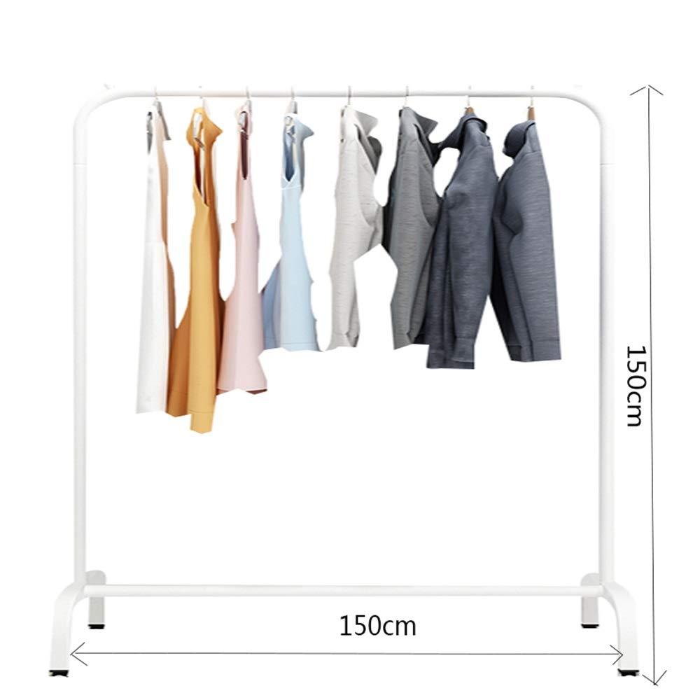 White 150×150CM JIAYING Fashion Heavy Duty Garment Rack with Shelves 1-Tier shoes Rack,Coat Rack with Hanger Bar for Living Room, Bedroom, Study (color   Wood color, Size   80×130CM)