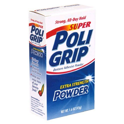 PoliGrip Super Denture Adhesive Powder, Extra Strength 1.6 oz Container by Super Poli-Grip