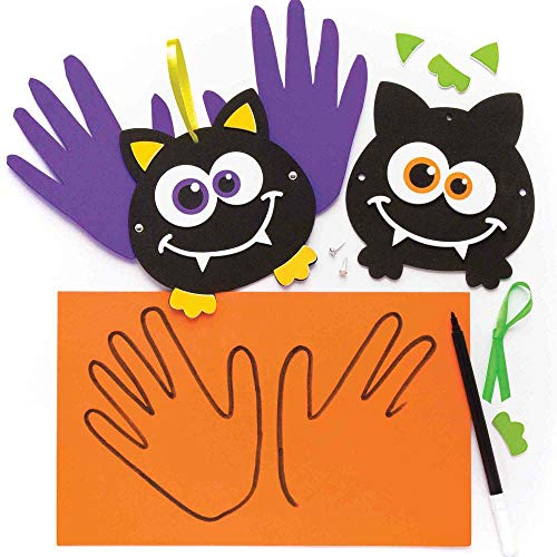 Baker Ross Bat Handprint Decoration Kits (Pack of 4) for Kids Halloween Crafts and Decoration -