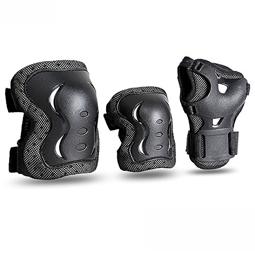 JBM Kids & Adults Cycling Roller Skating Knee Elbow Wrist Protective Pads-Black/Adjustable Size, Suitable for Skateboard, Biking, Mini Bike Riding and Other Extreme - Set Wrist Guard