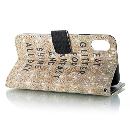 Painted de Case Cat Gray Painted Cover Rabat iPhone Etui à Cuir BONROY 3D Support Glitter 9 Breakfast Slots 3D Portefeuille Housse Etui Carte nUR7T8W