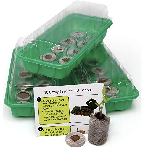 (Seed Starting Kit - Complete Supplies - 3 Mini Sturdy Greenhouse Trays with Dome fits on Windowsill, Fiber Soil Pods, Instructions. Indoor/Outdoor Gardening. Grow Herbs, Flowers and Vegetables.)