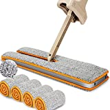 Lazy Double Sided Mop And 360° Automatic Squeeze Hand-wash Free Wet And Dry Floor Cleaning Mops,4 Pcs Mop Cloth Total