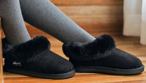 Outdoor Lined Warm Black House Womens Fur Shoes Slippers Cattior PAqIFwO