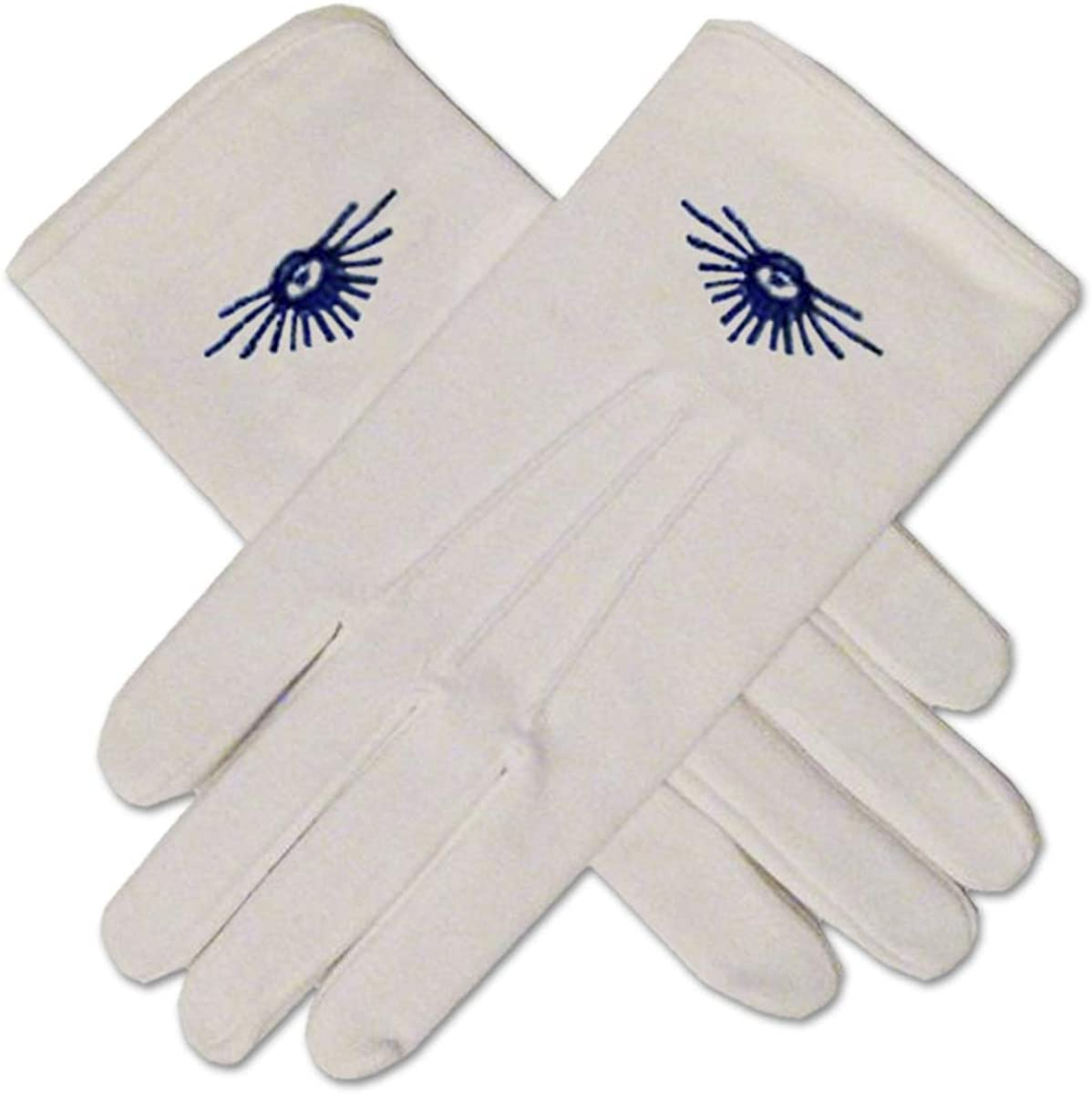All Seeing Eye Hand Embroidered Cotton Masonic White Gloves