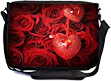 Rikki Knight Valentine Roses with Heart Design Combo Multifunction Messenger Laptop Bag - with Padded Insert for School or Work - Includes Wristlet & Mirror