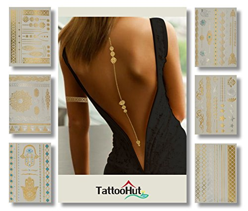 Simple Tiger Costume Makeup (Gold Flash Tattoos Elegant Sexy Temporary Tattoo Jewelry (100+) Beautiful Premium Quality Henna Mehndi Boho Hearts Stars Butterfly Arm Bands Back Lines Bracelets Holiday Party Sparkle (Sexy Glam))
