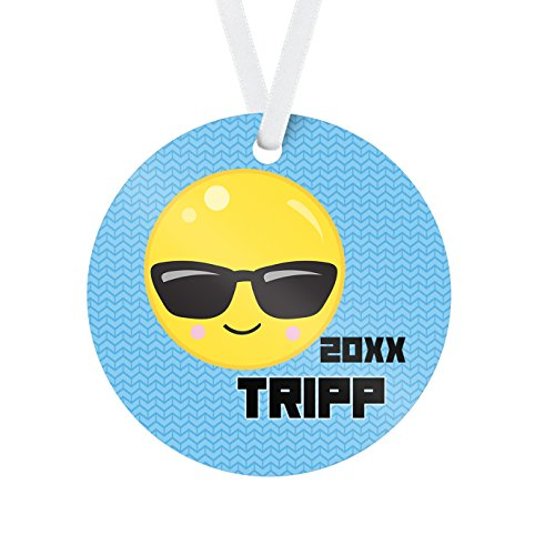 Emoji Ornament - Blue Sunglasses Face Personalized Name Christmas - Customize Sunglasses